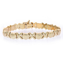8.1mm Ladies 14K Yellow Gold Hearts and Kisses Bracelet - $662.31