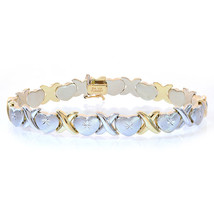 8.5mm Ladies 14K Two Tone Gold Hearts and Kisses Bracelet - $672.21