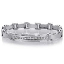1.10 Carat Mens Diamond Bracelet in 14K White Gold - $2,764.08