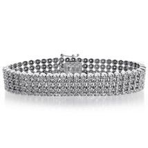 8.15 Carat Mens Toni Diamond Bracelet 14K White Gold 4 Rows - $7,622.01