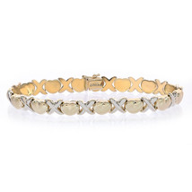8.1mm Ladies 14K Yellow Gold Satin Hugs and 14K White Gold Polished Kisses Brace - $721.71