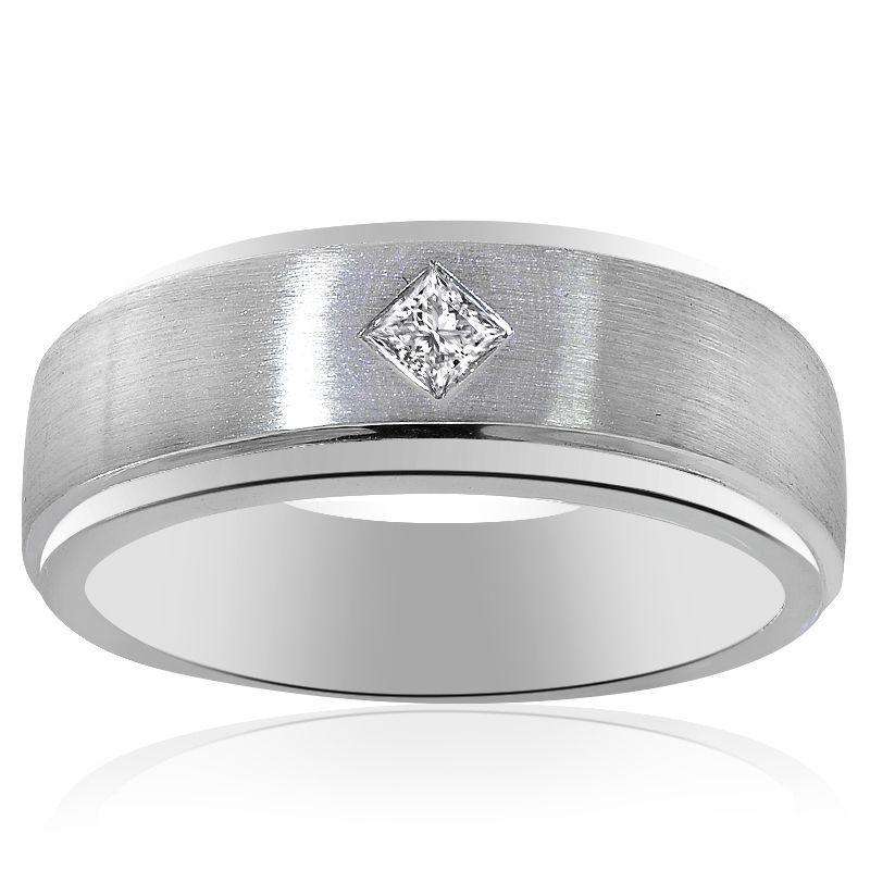0.15 Carat Mens Princess Cut Diamond Wedding Band 14K White Gold - $618.75