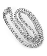 """6.5 mm Cuban Curb Link Heavy Chain Necklace 14K White Gold Italy 22"""" long - $4,265.91"""