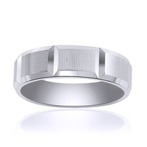 6.5mm 14K White Gold Comfort Fit Horizontal Grooves Band - $415.80