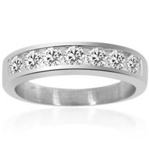 1.00 Carat Mens Round Cut Diamond Wedding Band 14K White Gold - $1,235.52