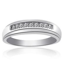 0.25 Carat Mens Round Cut Diamond Wedding Band 14K White Gold - $752.40