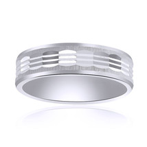 6.0mm 14K White Gold Comfort Fit Band With A Textured Center - $315.81
