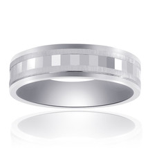 6.0mm 14K White Gold Mens Band With A Textured Center - $424.71