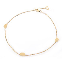 14K Yellow Gold Bead Link Ankle Bracelet With Gold Hearts - $276.21
