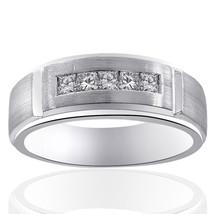 0.55 Carat Mens Princess Cut Diamond Wedding Band 14K White Gold - $1,071.18