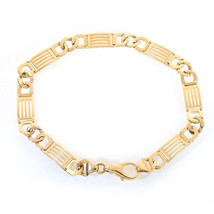 7.4mm 14K Yellow Gold Mens Fancy Interlocking Link Bracelet - $1,107.81