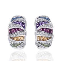 2.00 Carat Multi-Gemstone Diamond J-Hoop Earrings 10K White Gold - $640.63