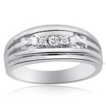 0.15 Carat Mens Round Cut Diamond Wedding Band 14K White Gold - $519.75