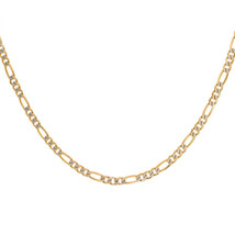 "4.2 mm Diamond Pave Cut Figaro Link Chain 14K Yellow Gold 24"" long - $949.41"