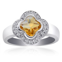 1.17 Carat Yellow Topaz with Round Cut Diamond Cocktail Ring 14K White Gold - £309.68 GBP