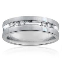 0.55 Carat Mens Round Cut Diamond Wedding Band 14k White Gold - $982.08