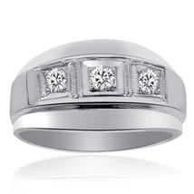0.50 Carat Mens Round Cut Diamond Wedding Band 14K White Gold - $915.75