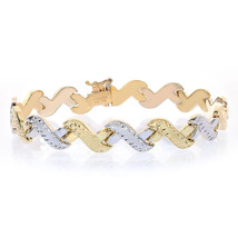9.5mm 14K Two Tone Gold Fancy Diamond Cut Wave Link Bracelet - $553.41