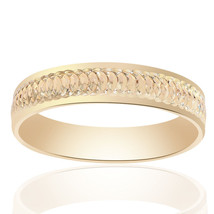 5.0mm 14K Yellow Gold Mens Band With A Textured Center - $216.81
