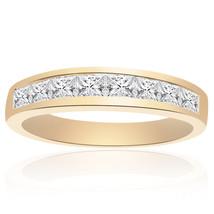 1.00 Carat Princess Cut Brilliant Diamond Wedding Band 14K Yellow Gold - $741.51