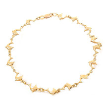 14K Yellow Gold Bottlenose Dolphin Ankle Bracelet - $523.71