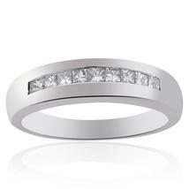 0.75 Carat Mens Princess Cut Diamond Wedding Band 14K White Gold - $948.42