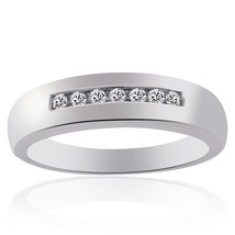 0.20 Carat Mens Round Cut Diamond Wedding Band 14K White Gold - $420.75
