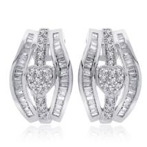 1.00 Carat Diamond Heart Cluster J-Hoop Earrings 14K White Gold - $738.64