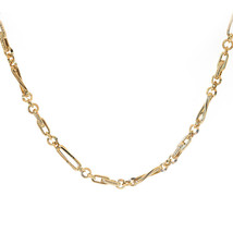 4.0 mm 14K Yellow Gold Fancy Link Chain Necklace with Cabochon Sapphire - $701.91