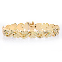 10.5mm 14K Yellow Gold Fancy Wave Hearts Link Bracelet - $909.81