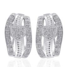 0.70 Carat Diamond Heart Cluster J-Hoop Earrings 14K White Gold - $498.07