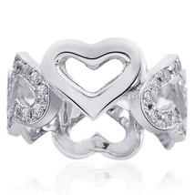 0.60 Carat Pave Set Diamond Heart Shaped Eternity Band 14K White gold - $622.71