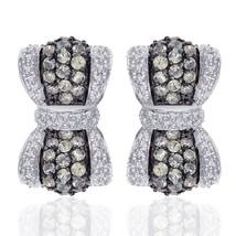 1.50 Carat Amethyst and 1.00 Carat Diamond Bow Hoop Earrings 14k White Gold - $676.27