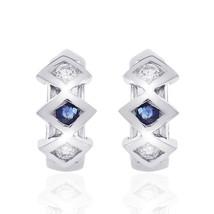 0.15 Carat Diamond Sapphire Classic Hoop Earrings 14K White Gold - $382.24
