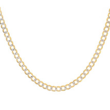 "5.00 mm Diamond Pave Cut Cuban Link Chain 14K Two Tone Gold 24"" long - $1,058.31"