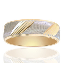 6.0mm 14k Two Tone Gold Comfort Fit Embossed Band - $266.31