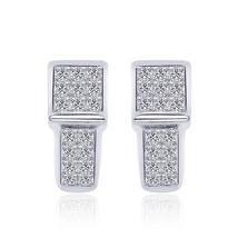 1.00 Carat Princess-Cut Quad Diamond J-Hoop Earrings 14K White Gold - $854.47