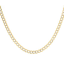 "6.00 mm Diamond Pave Cut Cuban Link Chain 14K Two Tone Gold 22"" long - $1,860.21"