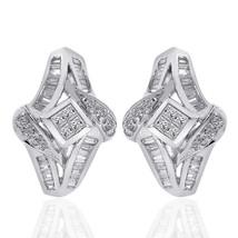 1.00 Carat Diamond Cascading Cluster J-Hoop Earrings 14K White Gold - $596.08