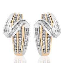 1.50 Carat Diamond Accent Twist J-Hoop Earrings 10K Two Tone Gold - $854.47