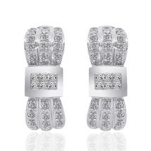 1.00 Carat Diamond Cluster J-Hoop Earrings 14K White Gold - $863.38