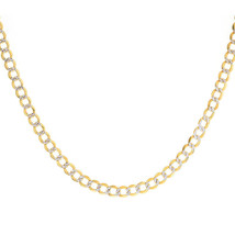 "4.8 mm Diamond Pave Cut Cuban Link Chain 14K Two Tone Gold 24"" long - $1,068.21"