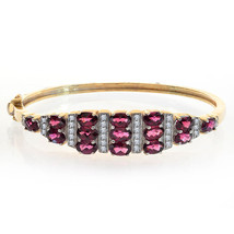 3.50 Carat Rhodolite and Round Diamond Bangle Bracelet 14K Yellow Gold - $1,800.81
