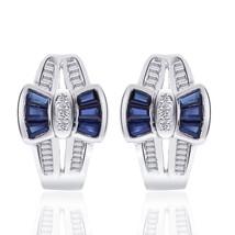 0.96 Carat Sapphire and Diamond Bow Cluster J-Hoop Earrings 14K White Gold - $506.98