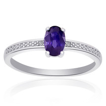 Sterling Silver Amethyst Diamond Accent Ring - £35.26 GBP