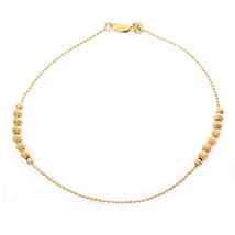 14K Yellow Gold Balls Bar Ankle Bracelet - $286.11
