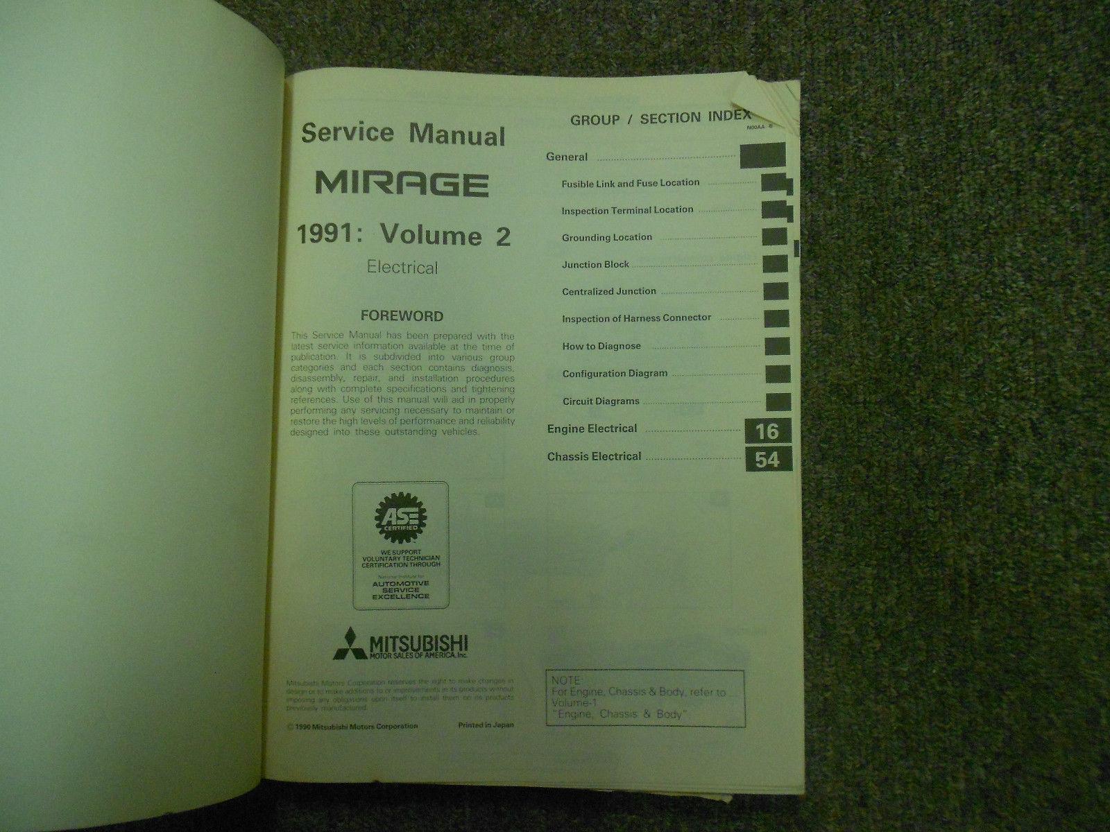 1991 MITSUBISHI Mirage Service Repair Shop Manual FACTORY OEM BOOK 91 3 VOL SET