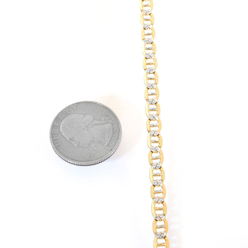 """5.0 mm Diamond Pave Cut GUCCI Chain Necklace Italy 14K Yellow Gold 20"""" long"""