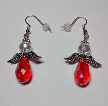 beautiful red and white angel dangle earrings - $3.99