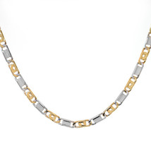 5.00mm 14K Two Tone Gold Tiger Eye Link Chain Necklace Italy - $2,107.71